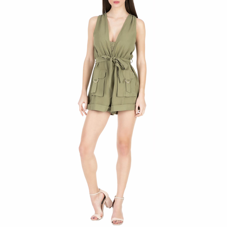GUESS - Γυναικείο ολόσωμο σορτς Guess ILIA FLUID DRAPY χακί γυναικεία ρούχα ολόσωμες φόρμες