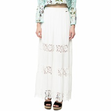 GUESS-Γυναικεία μάξι φούστα με δαντέλα Guess SIHU LONG λευκή