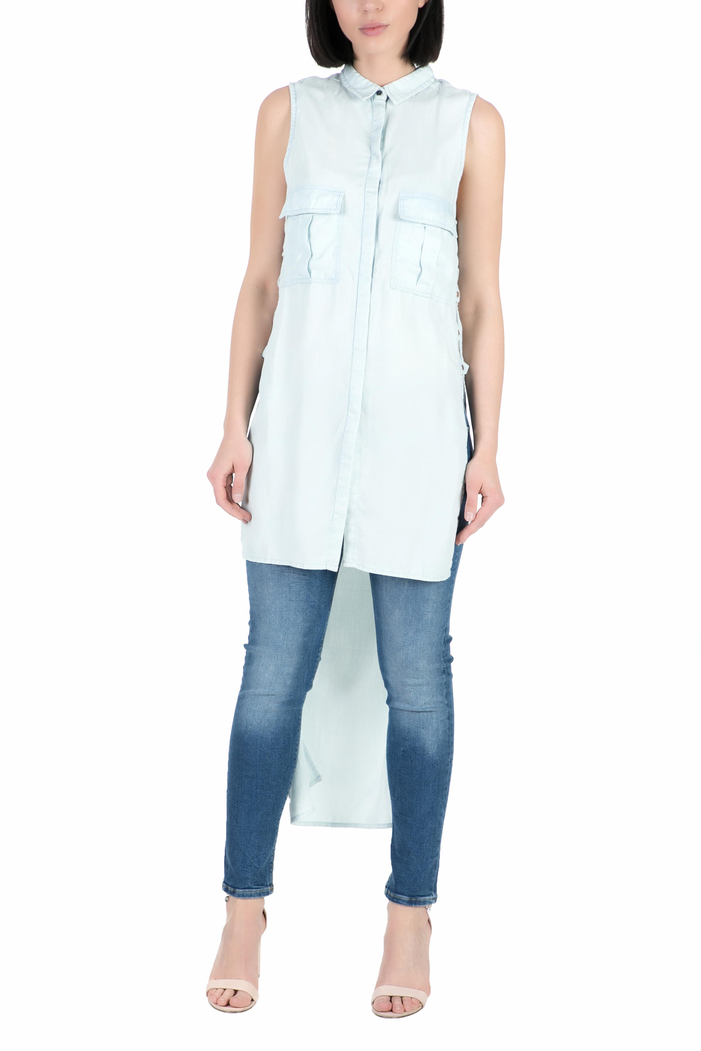 GUESS - Γυναικείο μακρυμάνικο πουκάμισο GUESS γαλάζιο