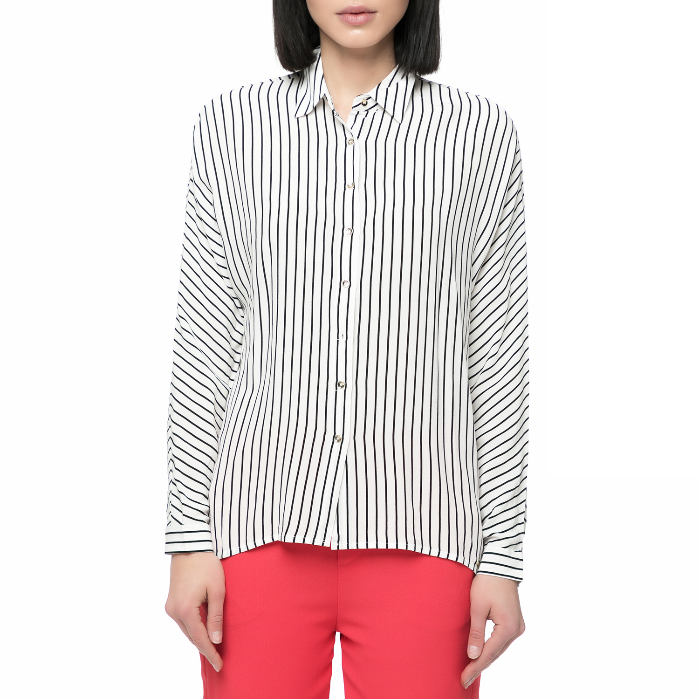 GUESS – Γυναικείο ριγέ πουκάμισο Guess SISIKA ασπρόμαυρο cb6ed444d08