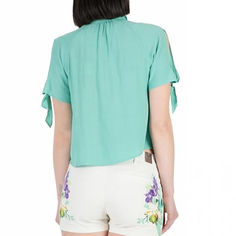 GUESS-Γυναικείο κοντομάνικο πουκάμισο GUESS τιρκουάζ