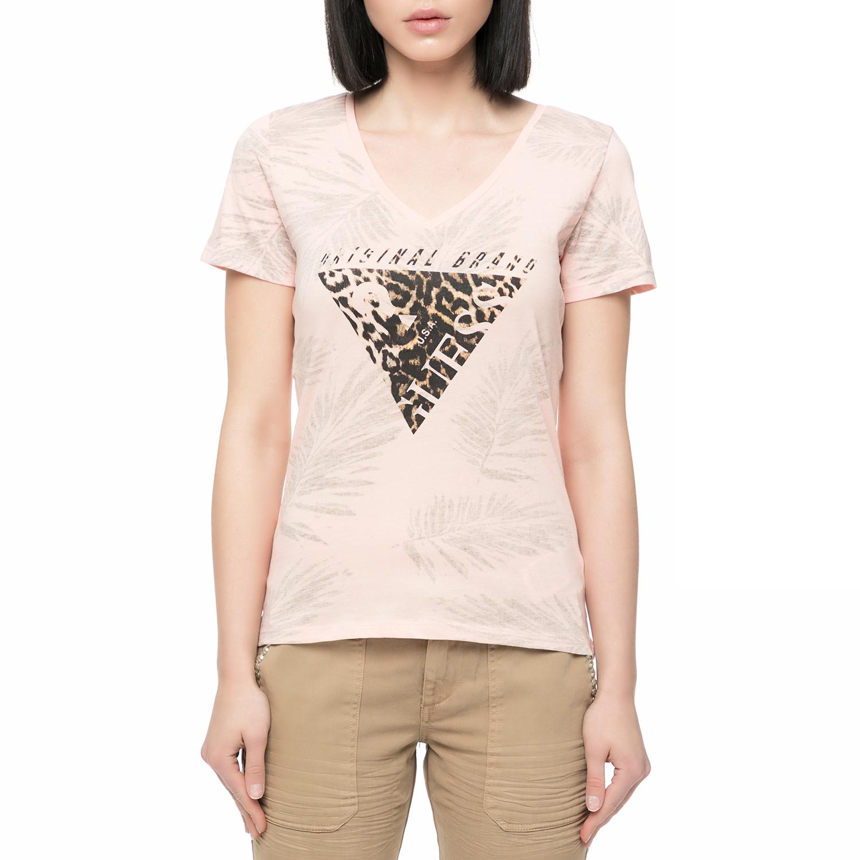 056eef9e6edd GUESS – Γυναικείο t-shirt με στάμπα Guess ροζ