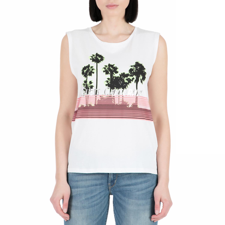 GUESS - Γυναικεία αμάνικη μπλούζα GUESS λευκή γυναικεία ρούχα μπλούζες αμάνικες