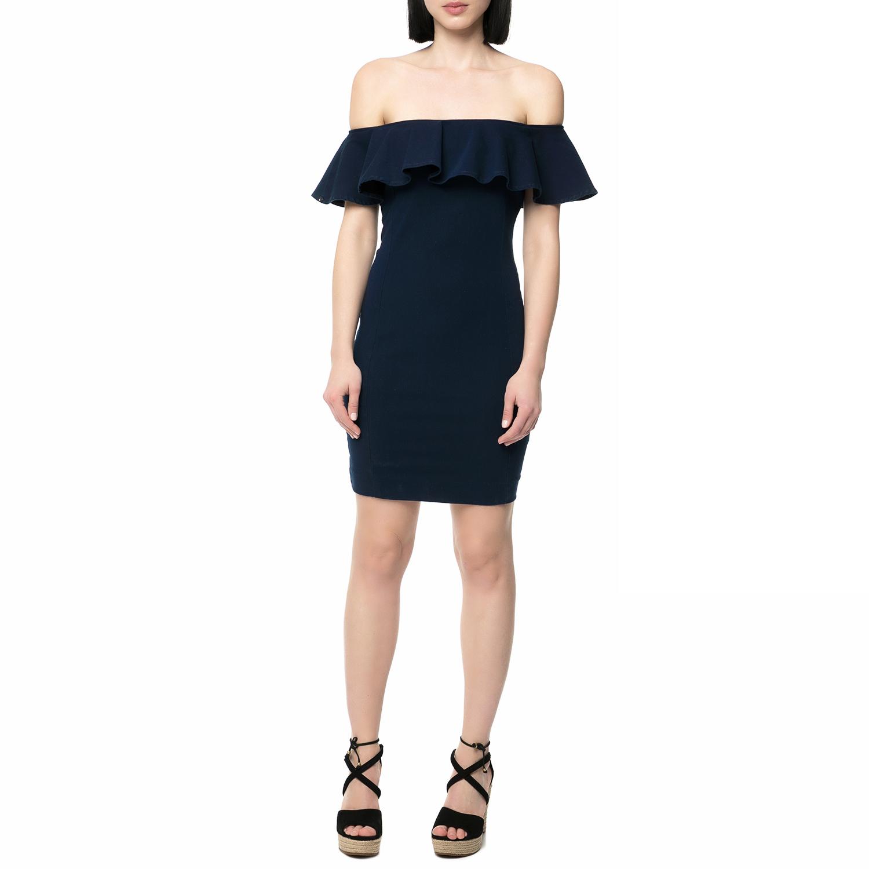 GUESS - Γυναικείο μίνι off the shoulder φόρεμα Guess BODYCON μπλε γυναικεία ρούχα φορέματα μίνι