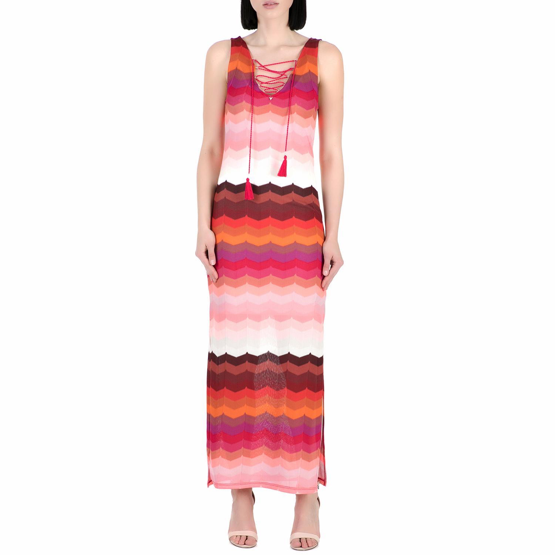 GUESS - Γυναικείο μάξι φόρεμα Guess GINEVRA ροζ- κόκκινο γυναικεία ρούχα φορέματα μάξι