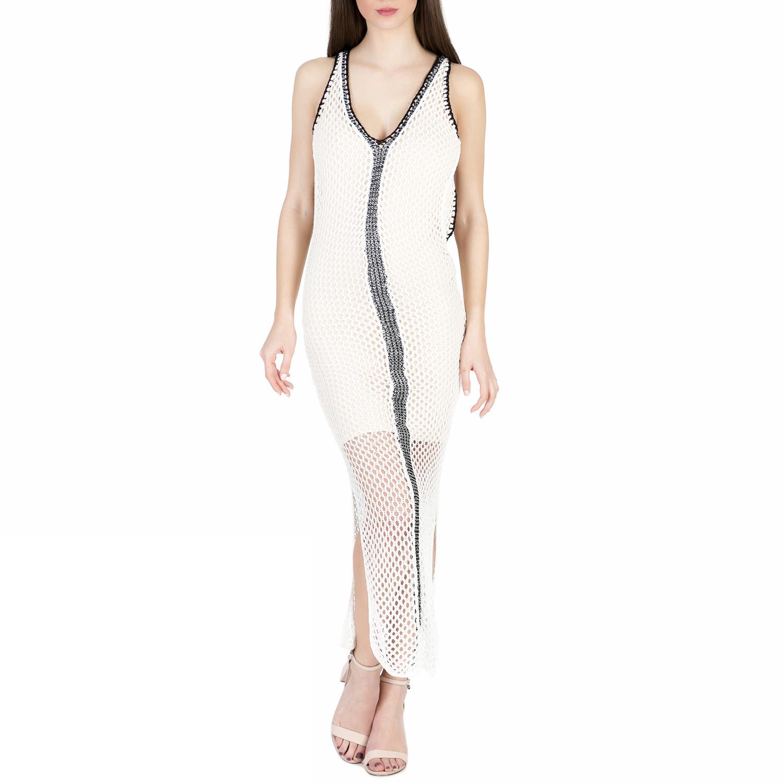 GUESS - Γυναικείο μάξι διχτυωτό φόρεμα Guess MEREDITH λευκό γυναικεία ρούχα φορέματα μάξι