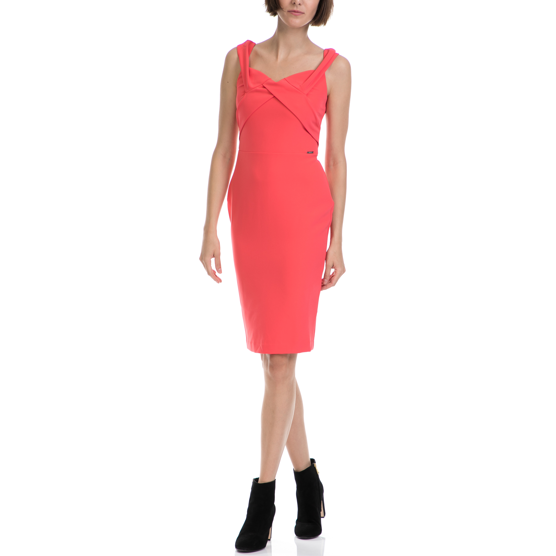 GUESS - Γυναικείο φόρεμα GUESS πορτοκαλί γυναικεία ρούχα φορέματα μέχρι το γόνατο