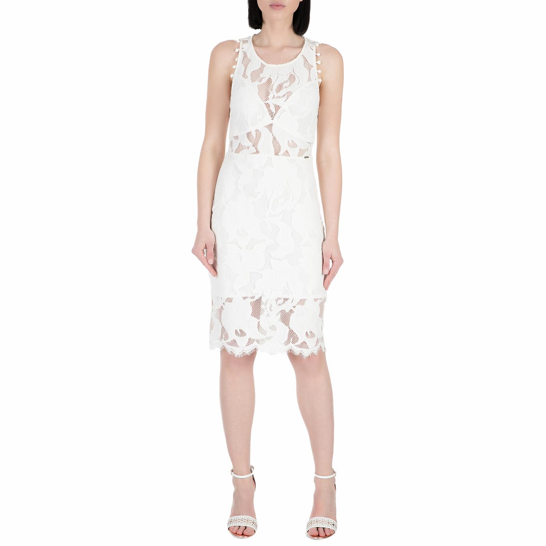 GUESS - Γυναικείο midi φόρεμα με δαντέλα Guess ALIKI λευκό γυναικεία ρούχα φορέματα μέχρι το γόνατο