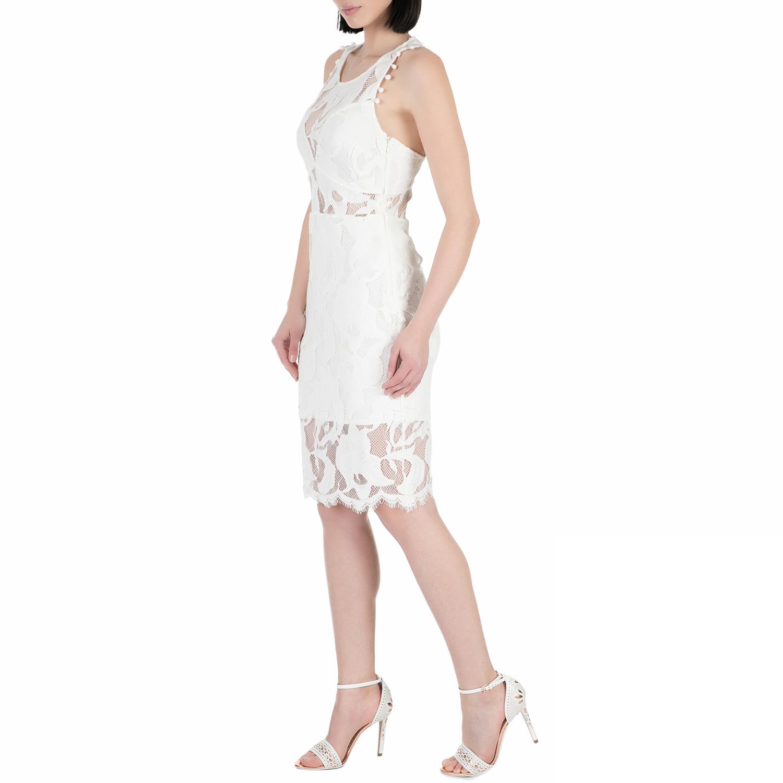 8b83ae3c601 GUESS - Γυναικείο midi φόρεμα με δαντέλα Guess ALIKI λευκό, ΓΥΝΑΙΚΑ | ΡΟΥΧΑ  | ΦΟΡΕΜΑΤΑ | ΜΕΧΡΙ ΤΟ ΓΟΝΑΤΟ