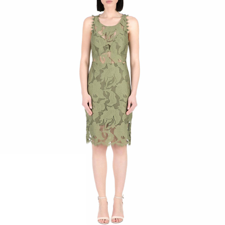 GUESS - Γυναικείο midi φόρεμα με δαντέλα Guess ALIKI χακί γυναικεία ρούχα φορέματα μέχρι το γόνατο