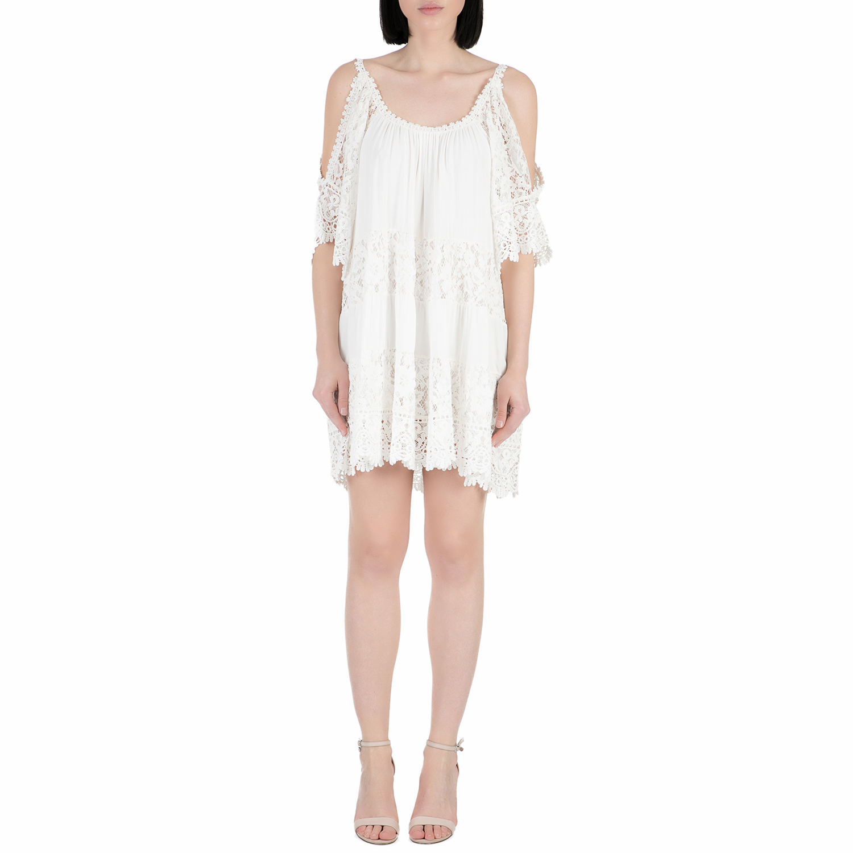 GUESS - Γυναικείο μίνι φόρεμα με δαντέλα Guess THI εκρού γυναικεία ρούχα φορέματα μίνι