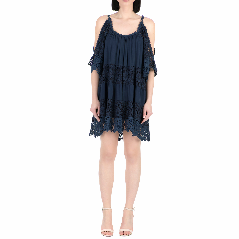 GUESS - Γυναικείο μίνι φόρεμα με δαντέλα Guess THI σκούρο μπλε γυναικεία ρούχα φορέματα μίνι