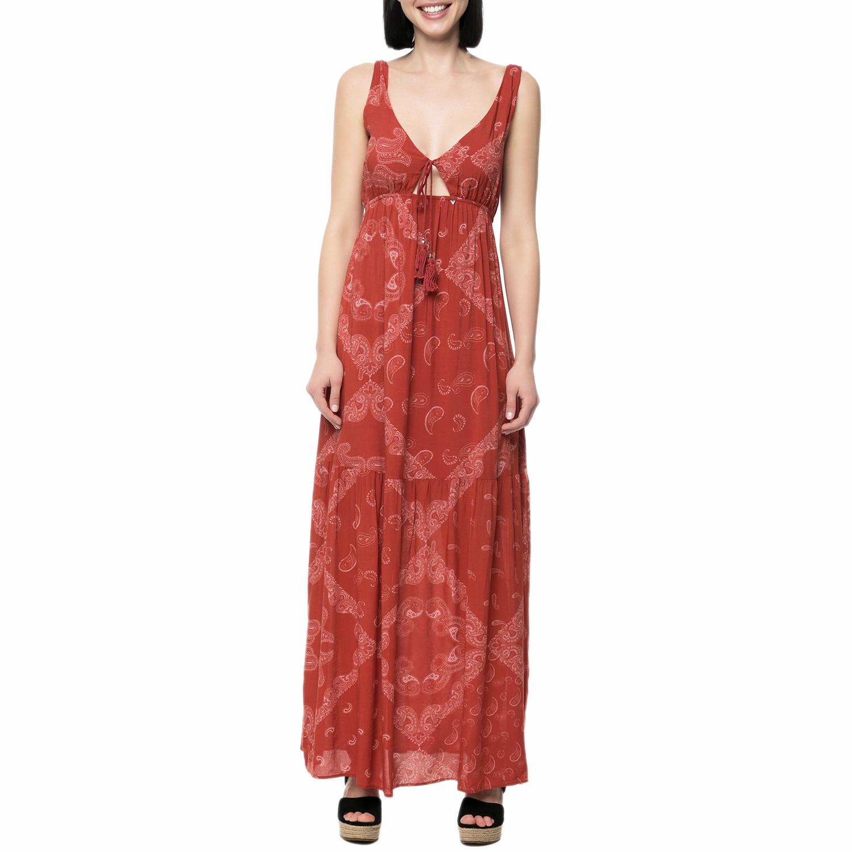 GUESS - Γυναικείο μάξι φόρεμα Guess NITA κεραμιδί γυναικεία ρούχα φορέματα μάξι