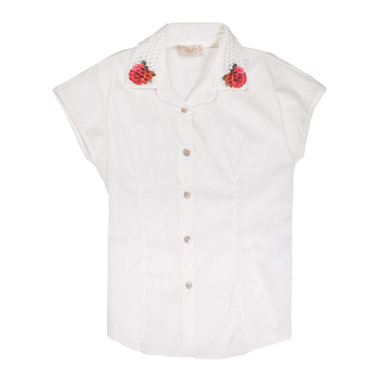 MONNALISA - Κοριτσίστικο πουκάμισο MONNALISA λευκό με τριαντάφυλλα παιδικά girls ρούχα πουκάμισα