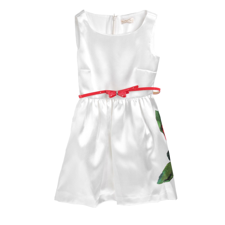 MONNALISA - Φόρεμα MONNALISA C/ROSA λευκό με ζώνη παιδικά girls ρούχα φορέματα