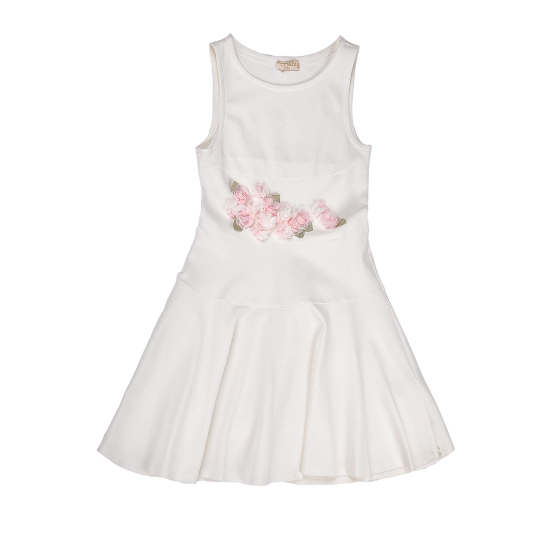 MONNALISA – Φόρεμα MONNALISA λευκό με ροζ λουλούδια