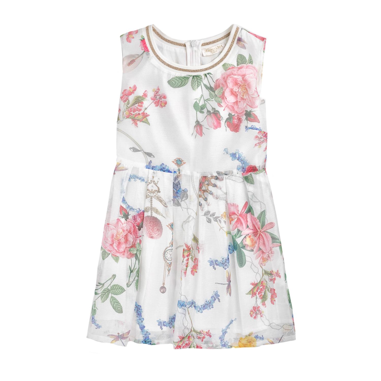 MONNALISA – Φόρεμα MONNALISA FLOWERS&CORONET λευκό με φλοράλ μοτίβο