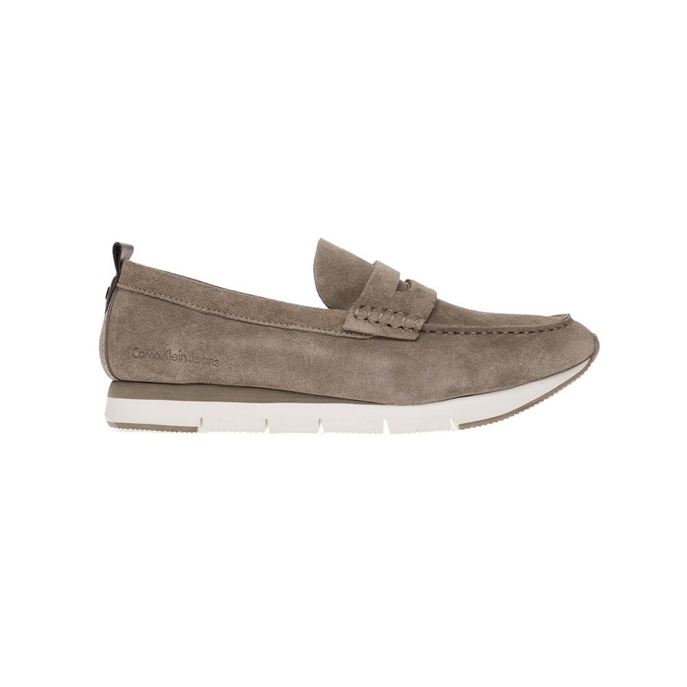 CALVIN KLEIN JEANS - Αντρικά παπούτσια CALVIN KLEIN JEANS μπεζ ανδρικά παπούτσια μοκασίνια loafers
