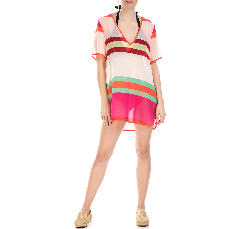 TED BAKER - Γυναικείο μίνι φόρεμα Ted Baker ριγέ με διαφάνεια γυναικεία ρούχα φορέματα μίνι