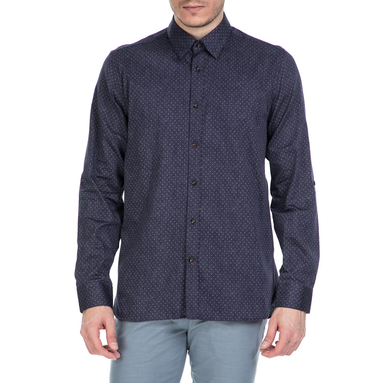 TED BAKER - Ανδρικό μακρυμάνικο πουκάμισο Ted Baker σκούρο μπλε με print ανδρικά ρούχα πουκάμισα μακρυμάνικα