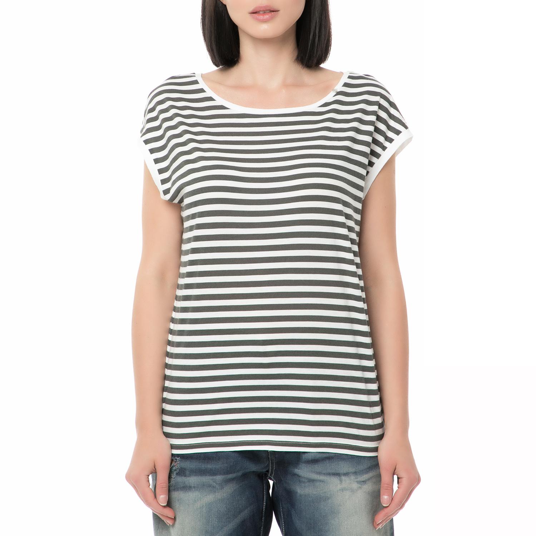 518727aca2 -30% GAS – Γυναικείο ριγέ t-shirt GAS γκρι – λευκό