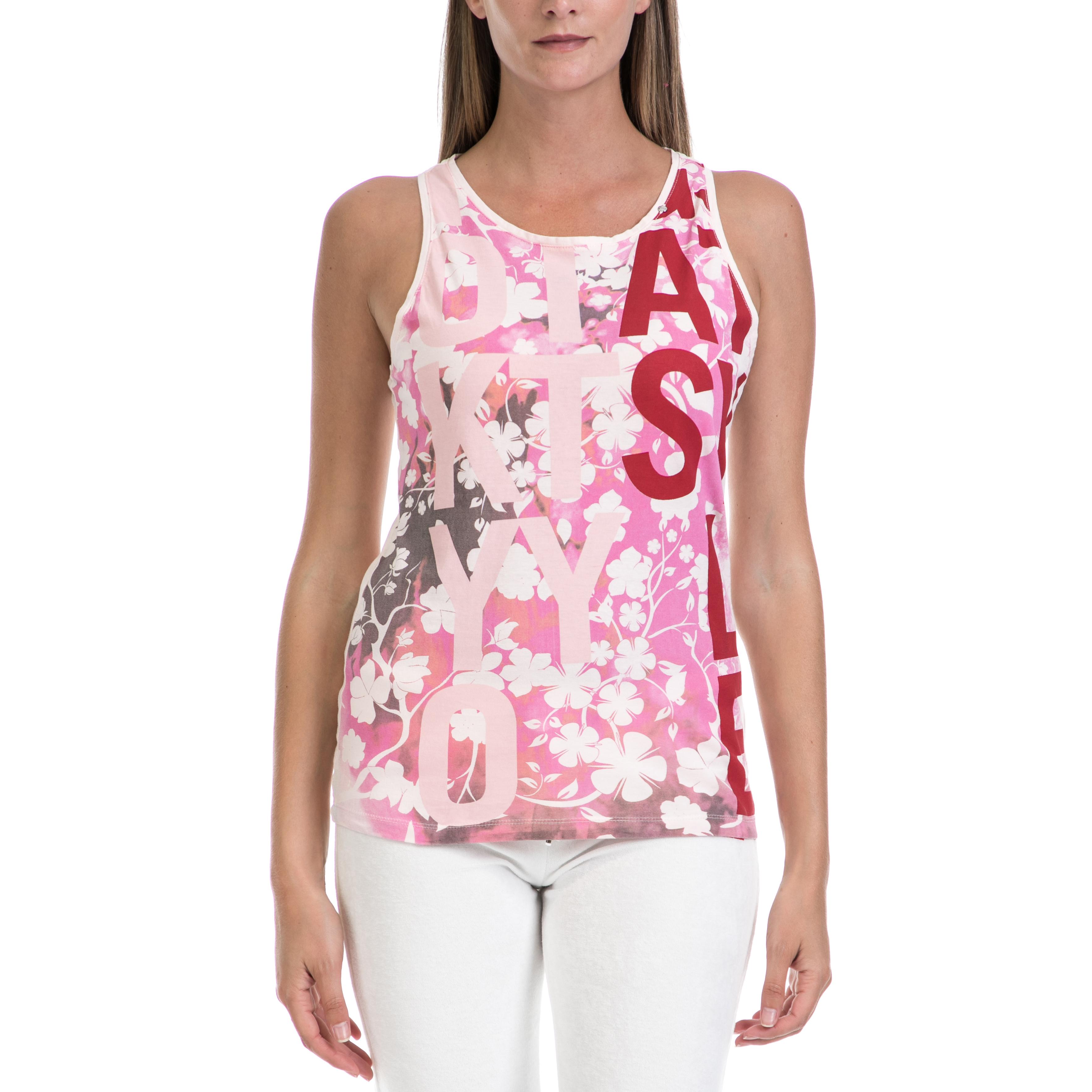 GAS - Γυναικεία μπλούζα GAS άσπρη-ροζ γυναικεία ρούχα μπλούζες αμάνικες