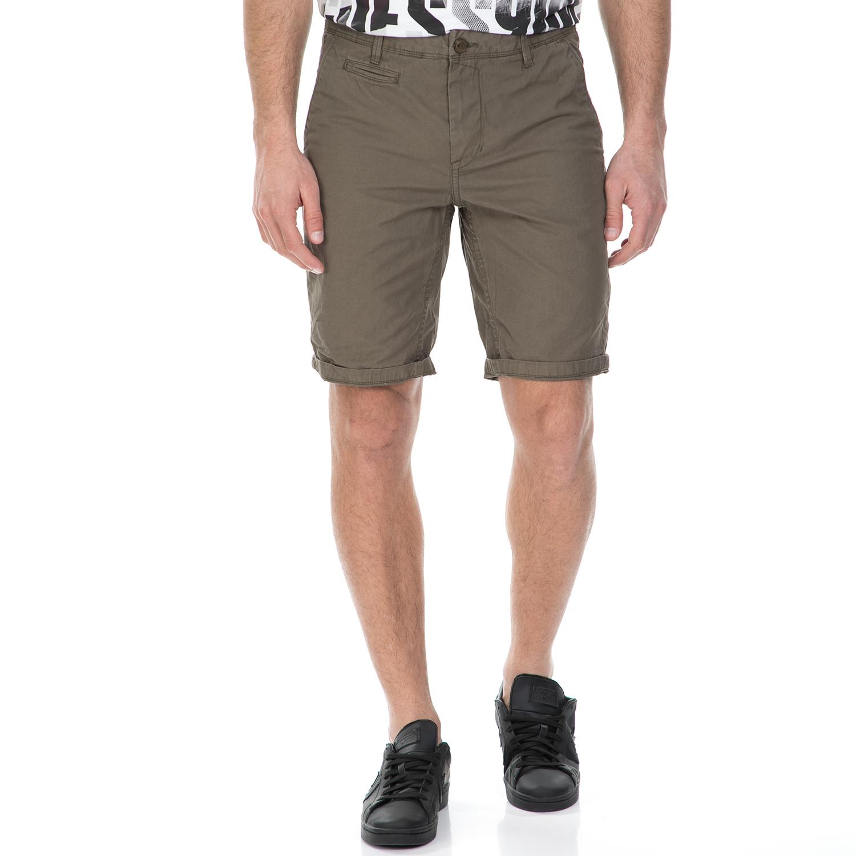 GARCIA JEANS - Ανδρική βερμούδα Garcia Jeans χακί ανδρικά ρούχα σορτς βερμούδες casual jean