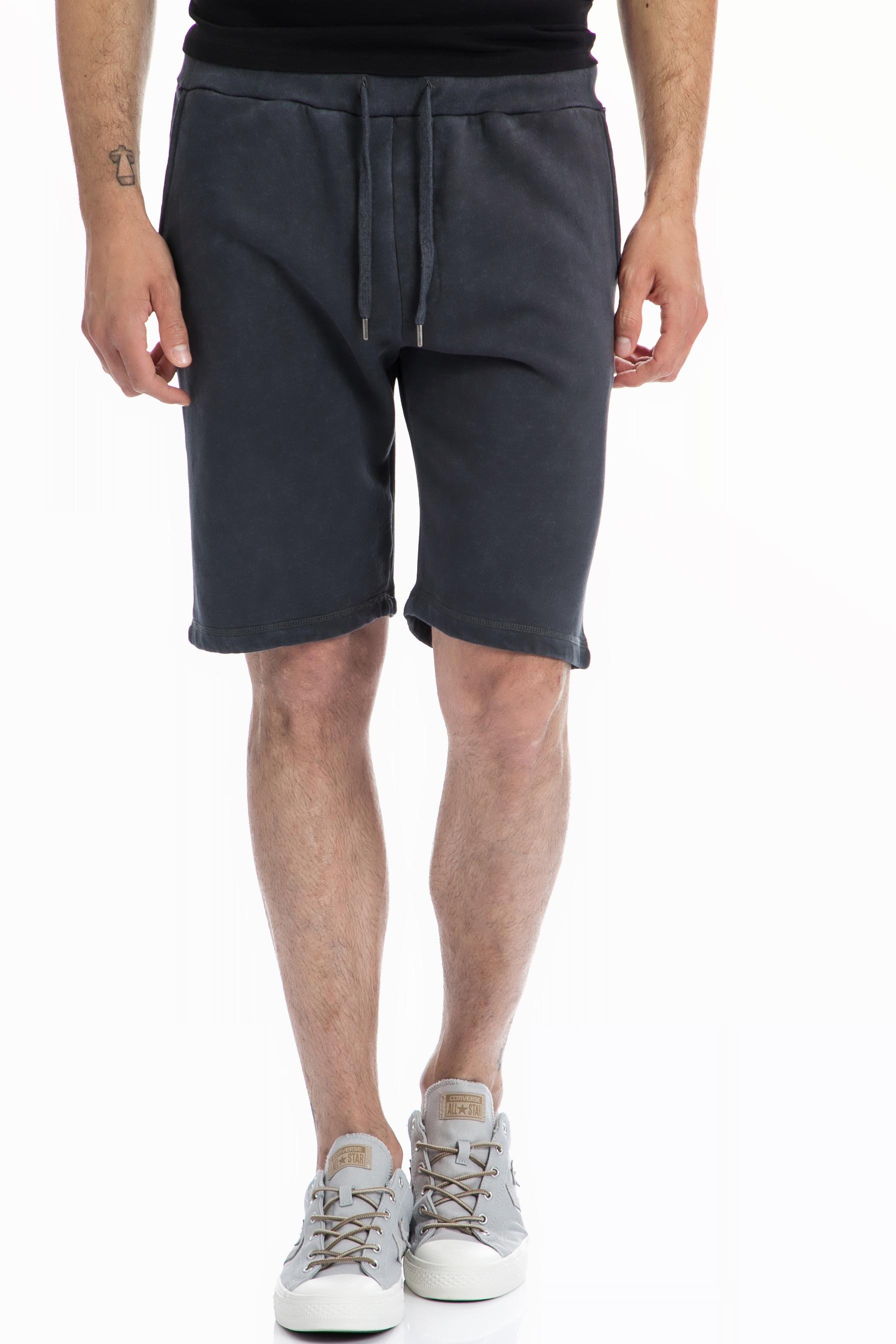 40-WEFT - Ανδρική βερμούδα 40-WEFT μαύρη-γκρι ανδρικά ρούχα σορτς βερμούδες αθλητικά