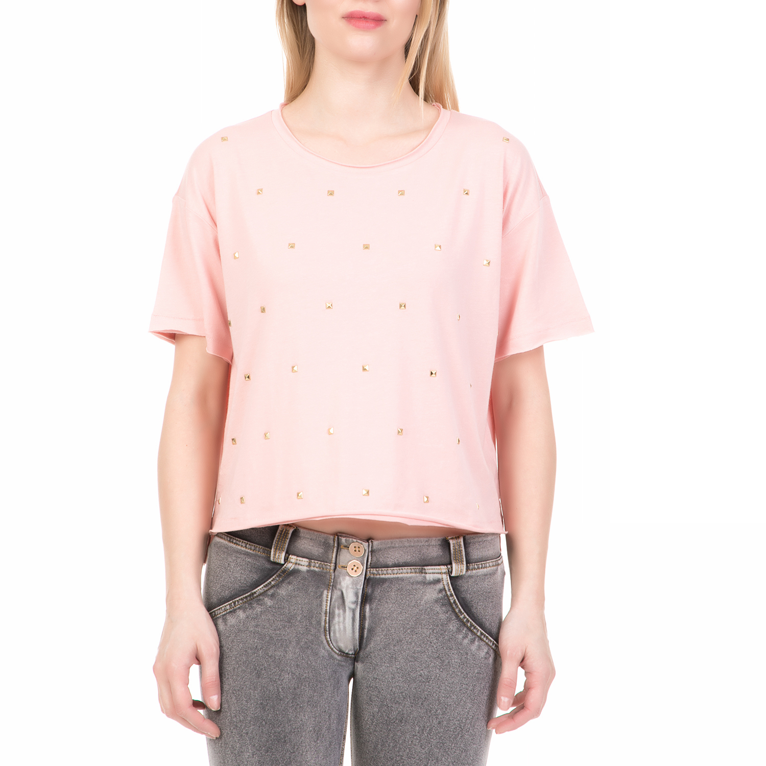 JUICY COUTURE - Γυναικεία κοντομάνικη μπλούζα WASHED JERSEY STUDDED JUICY COUTUR γυναικεία ρούχα μπλούζες κοντομάνικες
