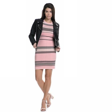 JUICY COUTURE-Γυναικείο μακρυμάνικο μίνι φόρεμα Juicy Couture ροζ -γκρι