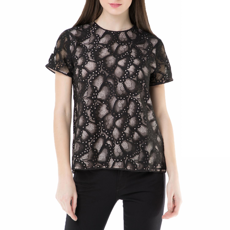 JUICY COUTURE - Γυναικείο κοντομάνικο τοπ butterfly lace Juicy Couture μαύρο γυναικεία ρούχα μπλούζες τοπ