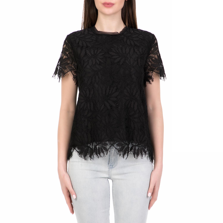 JUICY COUTURE - Γυναικείο κοντομάνικο τοπ PALMS LACE JUICY COUTURE μαύρο γυναικεία ρούχα μπλούζες τοπ