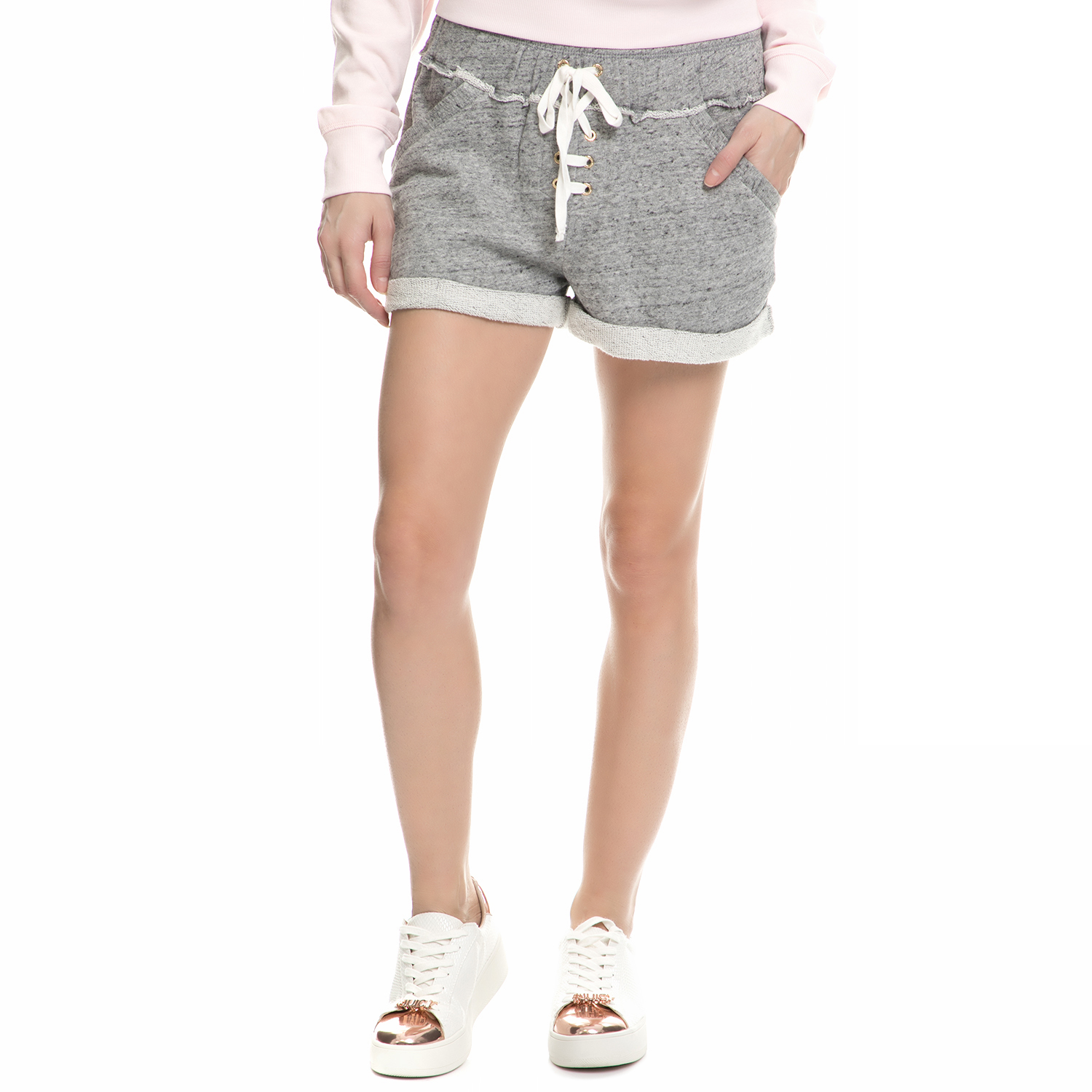 JUICY COUTURE – Γυναικείο σορτς Juicy Couture FRENCH TERRY LACE UP γκρι