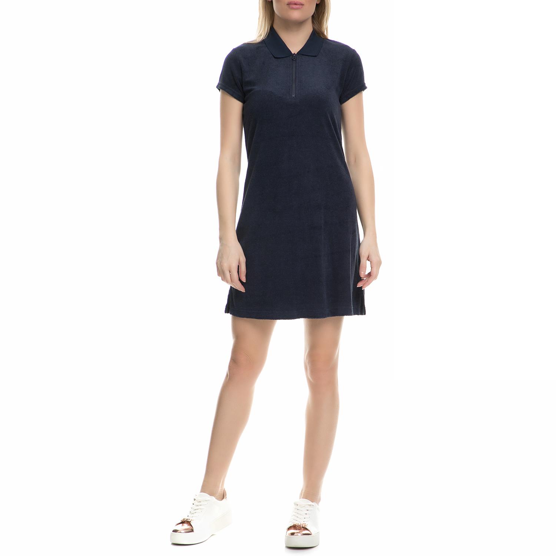 JUICY COUTURE - Γυναικείο μίνι βελουτέ φόρεμα Juicy Couture σκούρο μπλε γυναικεία ρούχα φορέματα μίνι