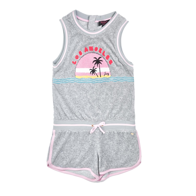 JUICY COUTURE KIDS - Ολόσωμη φόρμα JUICY COUTURE MICROTERRY LA SUNSET γκρι παιδικά girls ρούχα ολόσωμες φόρμες