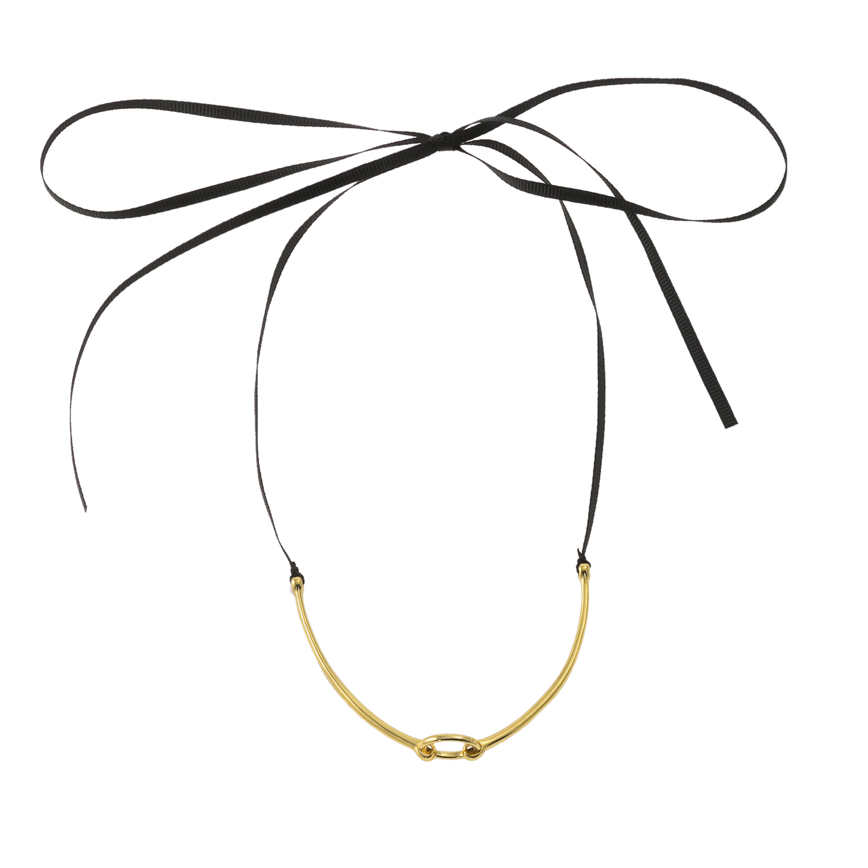 JUICY COUTURE - Κολιέ choker Juicy Couture Charm Starter μαύρο - χρυσό γυναικεία αξεσουάρ κοσμήματα κολιέ