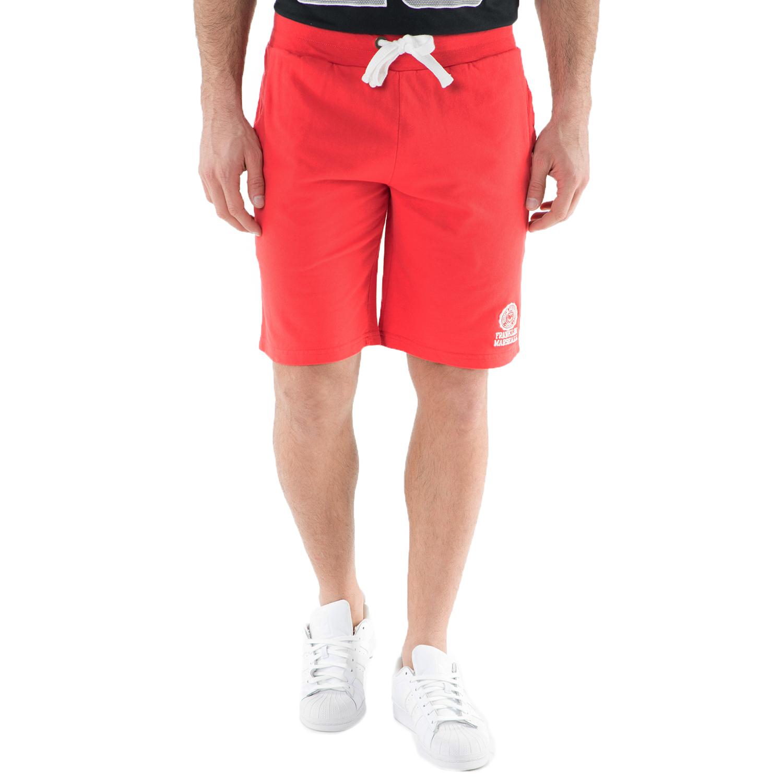 FRANKLIN & MARSHALL - Ανδρική βερμούδα FRANKLIN & MARSHALL κόκκινη ανδρικά ρούχα σορτς βερμούδες casual jean