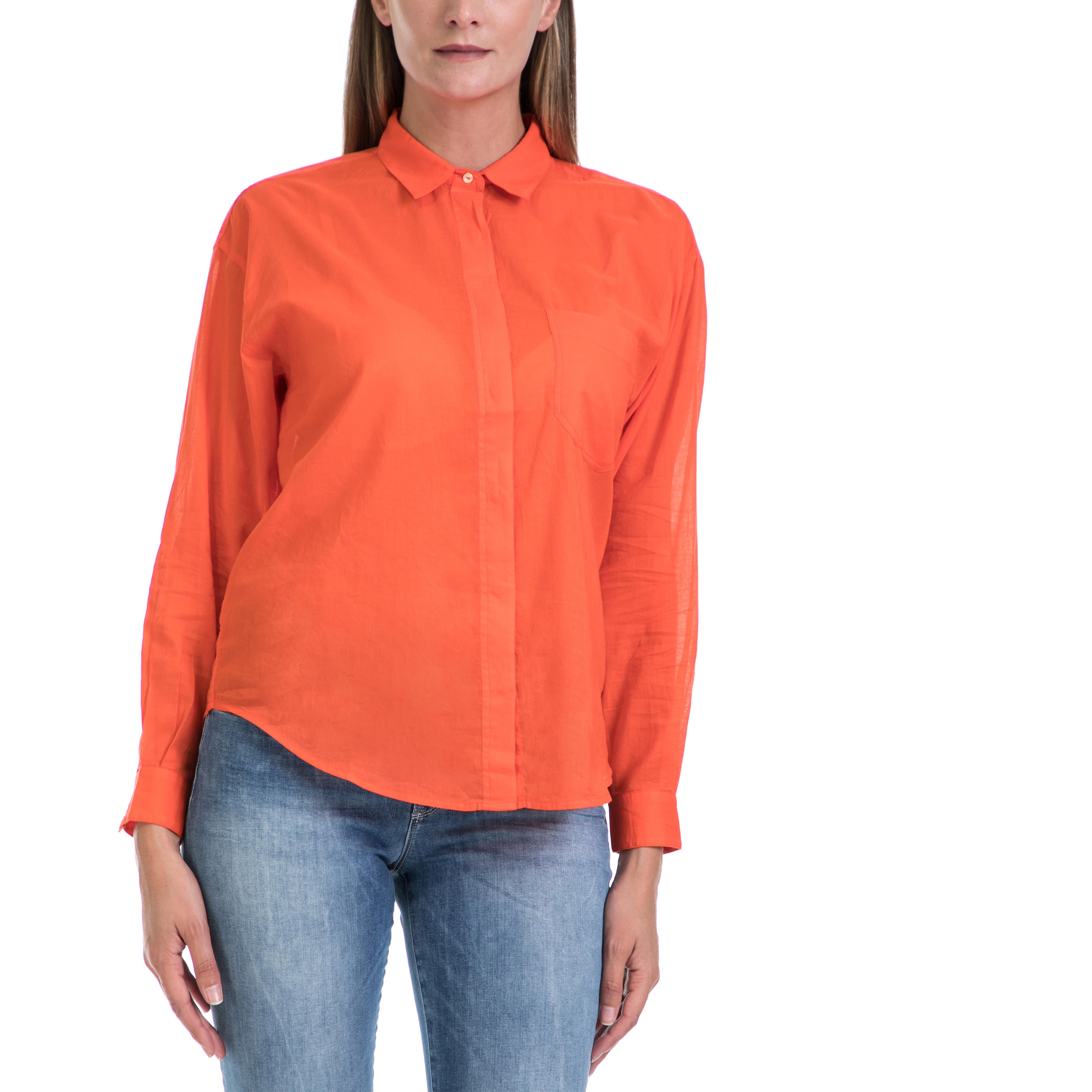 SCOTCH & SODA - Γυναικείο πουκάμισο MAISON SCOTCH πορτοκαλί γυναικεία ρούχα πουκάμισα μακρυμάνικα