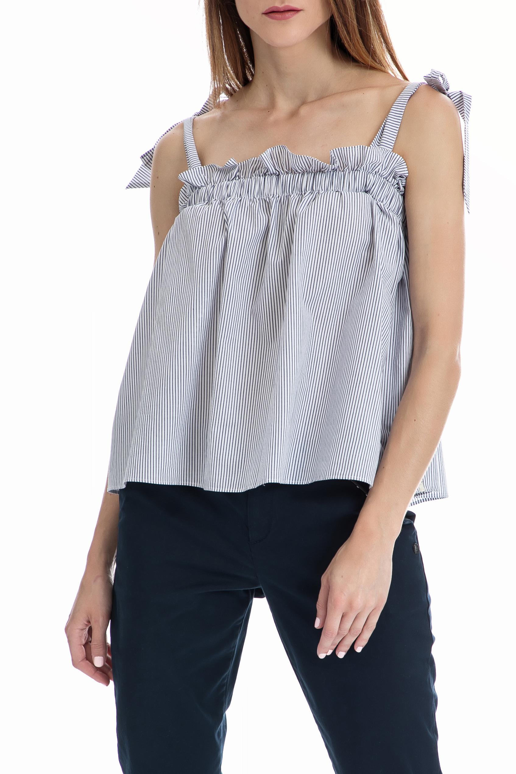 SCOTCH & SODA - Γυναικείο τοπ Cotton with ruffle SCOTCH & SODA μπλε-λευκό