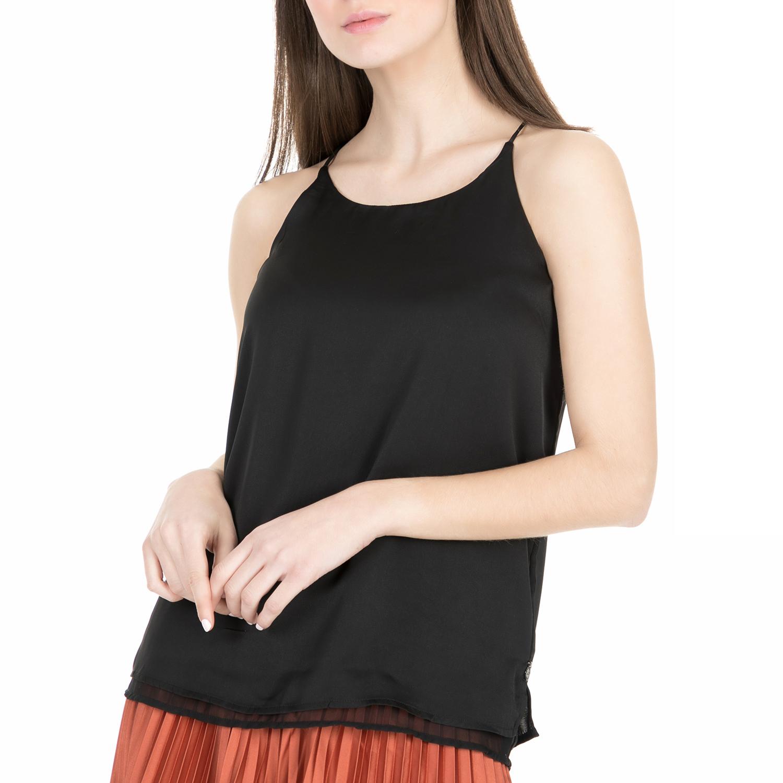 SCOTCH & SODA - Γυναικείο τοπ Scotch & Soda Silky feel tank top with sheer μαύρο γυναικεία ρούχα μπλούζες τοπ