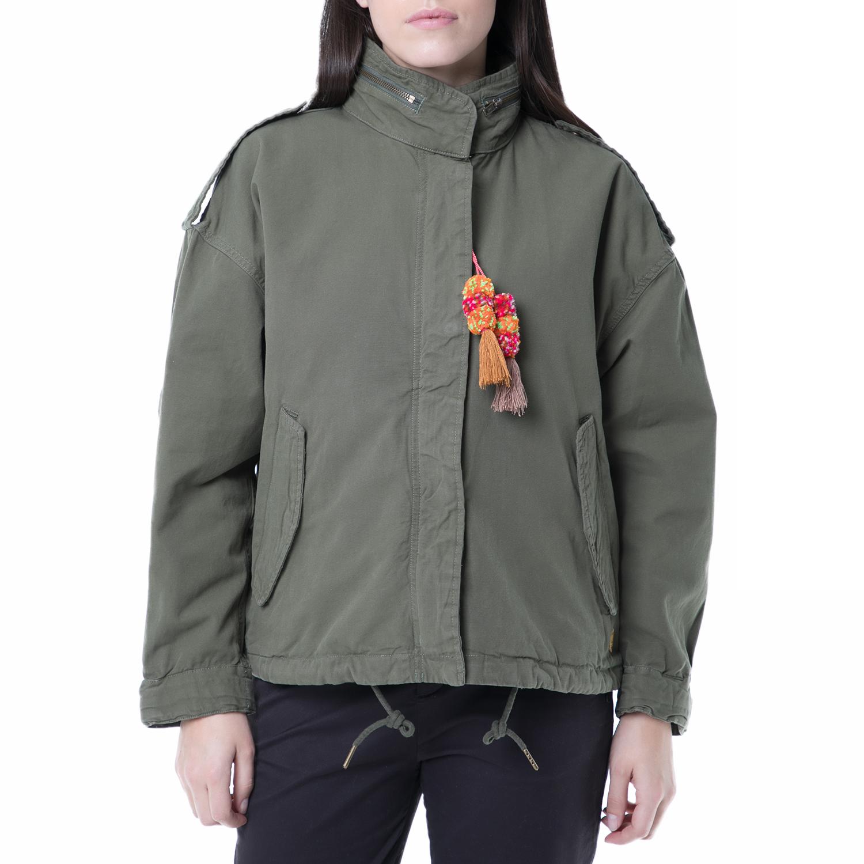 SCOTCH & SODA - Γυναικείο army μπουφάν Scotch & Soda χακί γυναικεία ρούχα πανωφόρια μπουφάν
