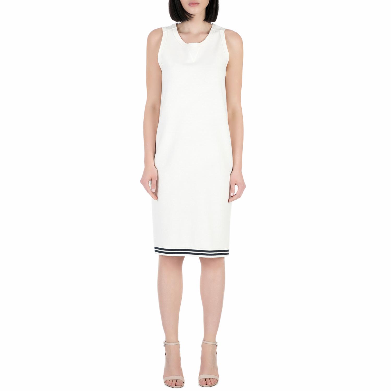 SCOTCH & SODA - Γυναικείο midi φόρεμα SCOTCH & SODA λευκό γυναικεία ρούχα φορέματα μέχρι το γόνατο