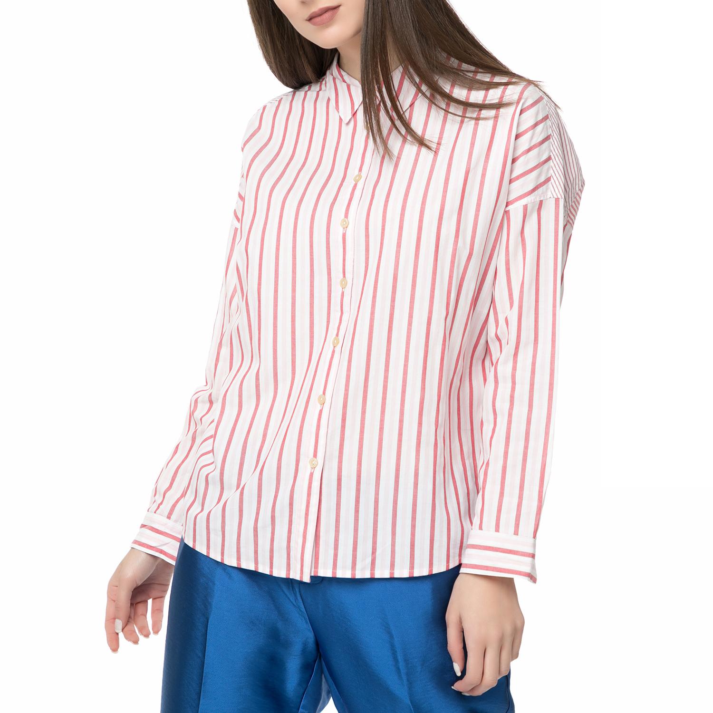 995d03bffe5f SCOTCH   SODA – Γυναικείο ριγέ πουκάμισο Scotch   Soda Relaxed fit  κόκκινο-άσπρο