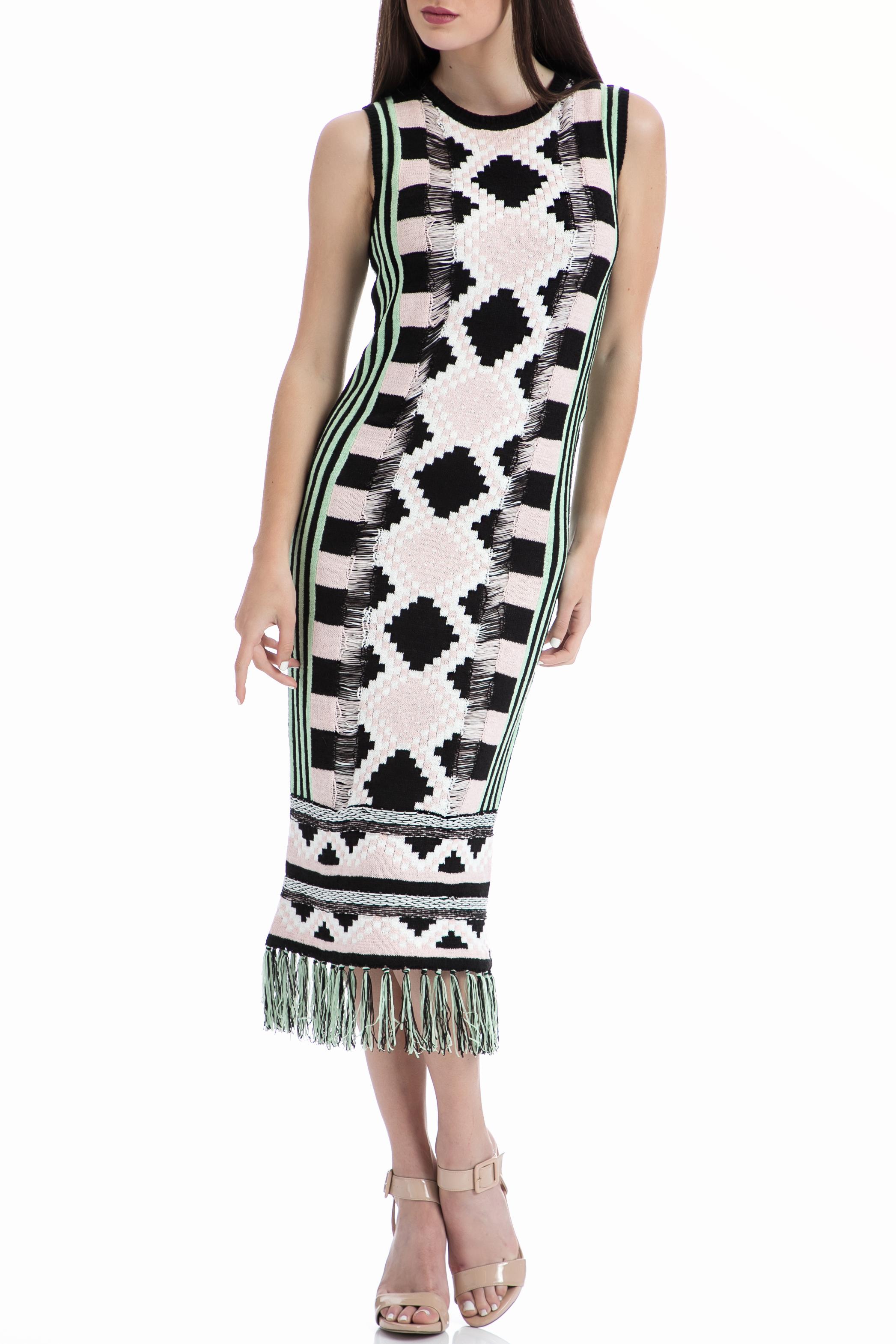 SCOTCH & SODA - Φόρεμα Maison Scotch εκρού-μαύρο γυναικεία ρούχα φορέματα μέχρι το γόνατο