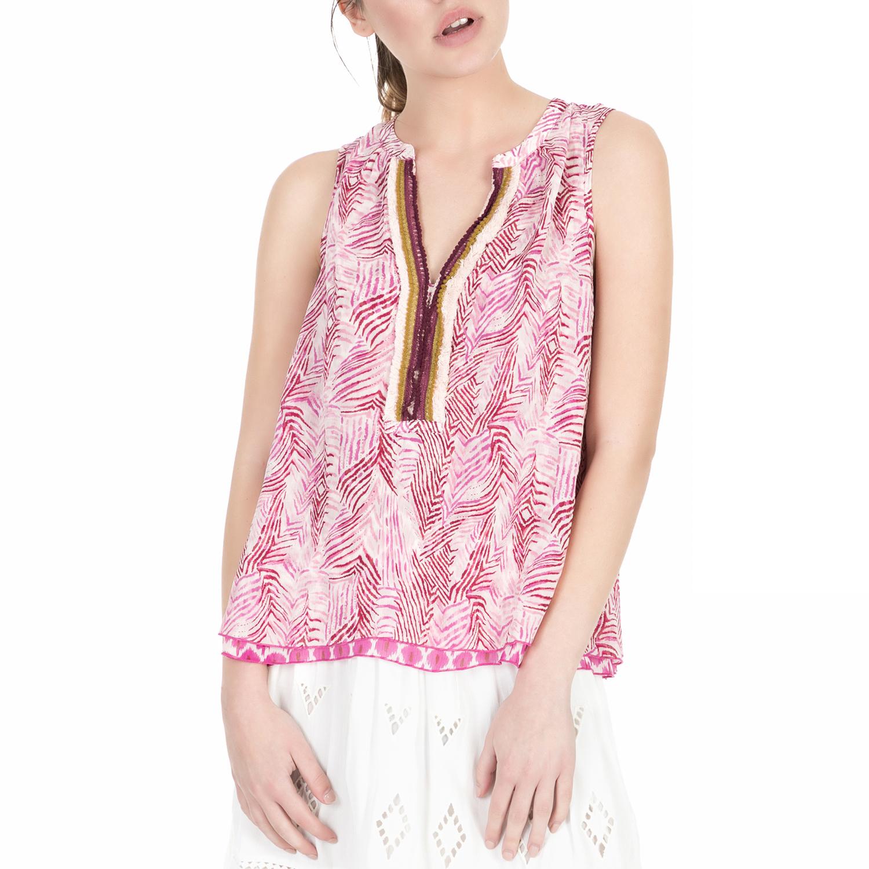 SCOTCH & SODA - Γυναικείο τοπ Scotch & Soda ροζ-λευκό με print γυναικεία ρούχα μπλούζες τοπ