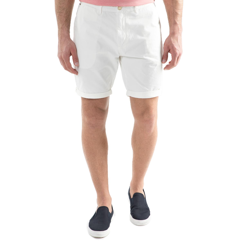 SCOTCH & SODA - Ανδρική chino βερμούδα Scotch & Soda λευκή ανδρικά ρούχα σορτς βερμούδες casual jean