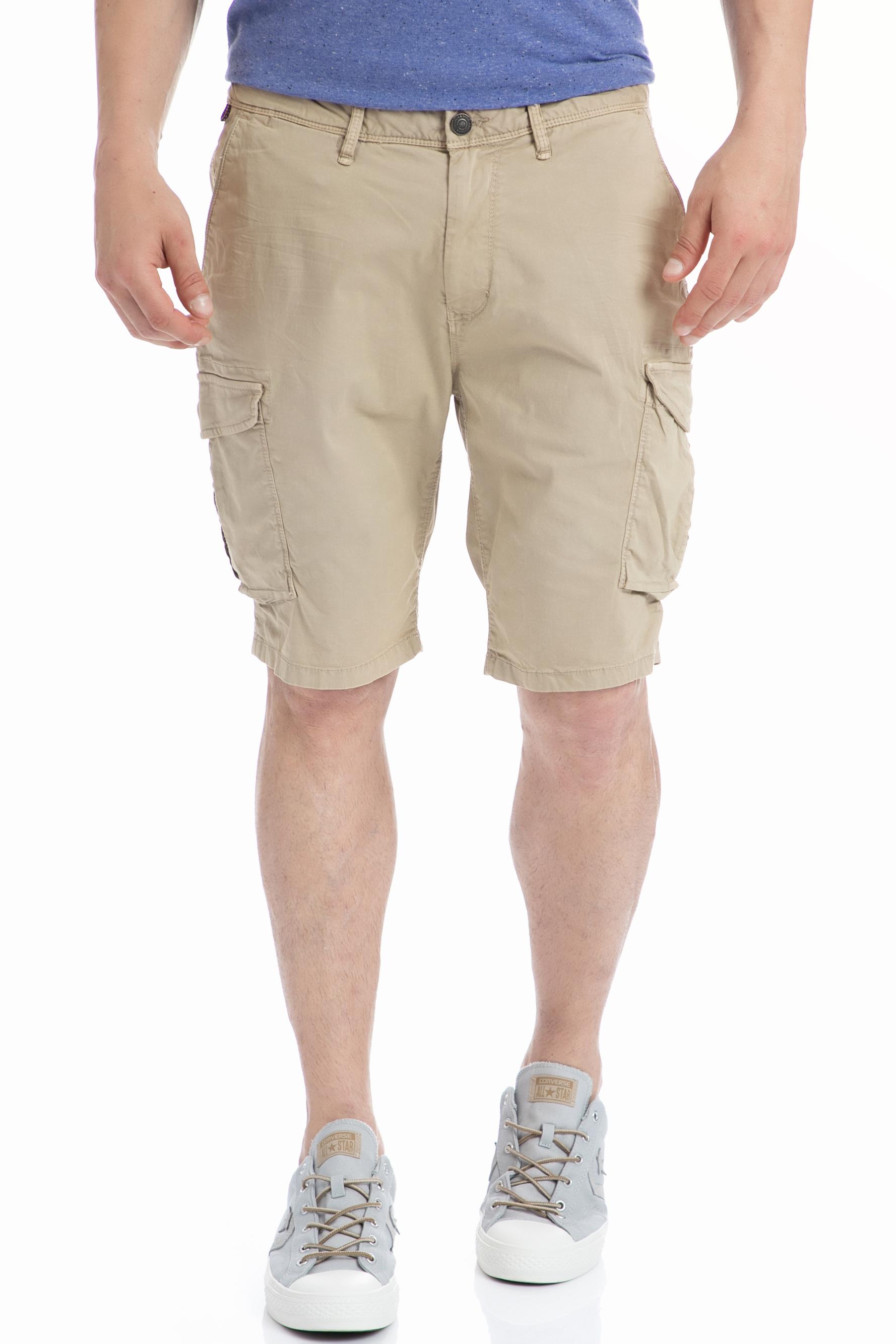 SCOTCH & SODA - Ανδρική βερμούδα SCOTCH & SODA μπεζ ανδρικά ρούχα σορτς βερμούδες casual jean