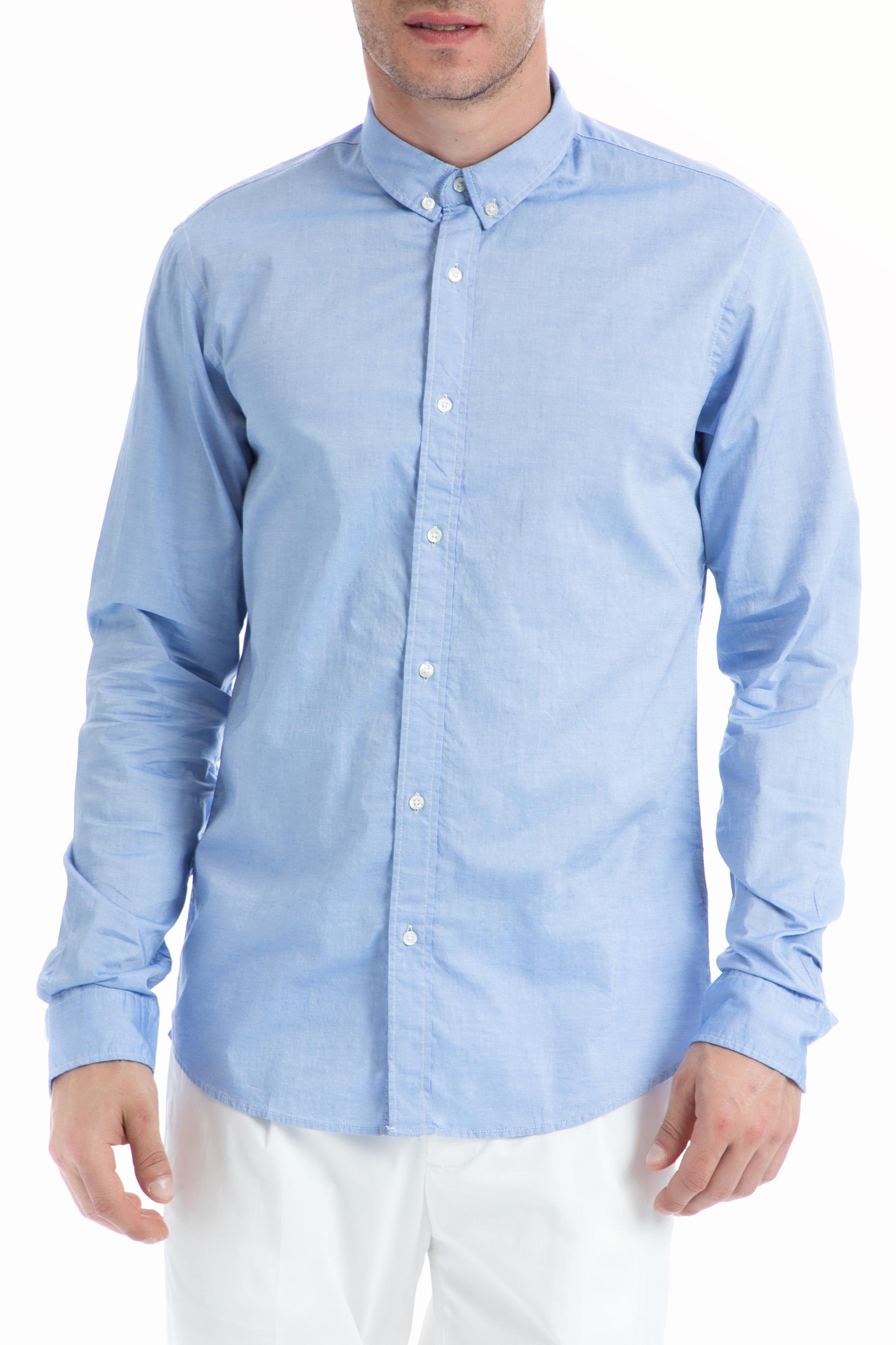 SCOTCH & SODA - Ανδρικό πουκάμισο SCOTCH & SODA γαλάζιο ανδρικά ρούχα πουκάμισα μακρυμάνικα