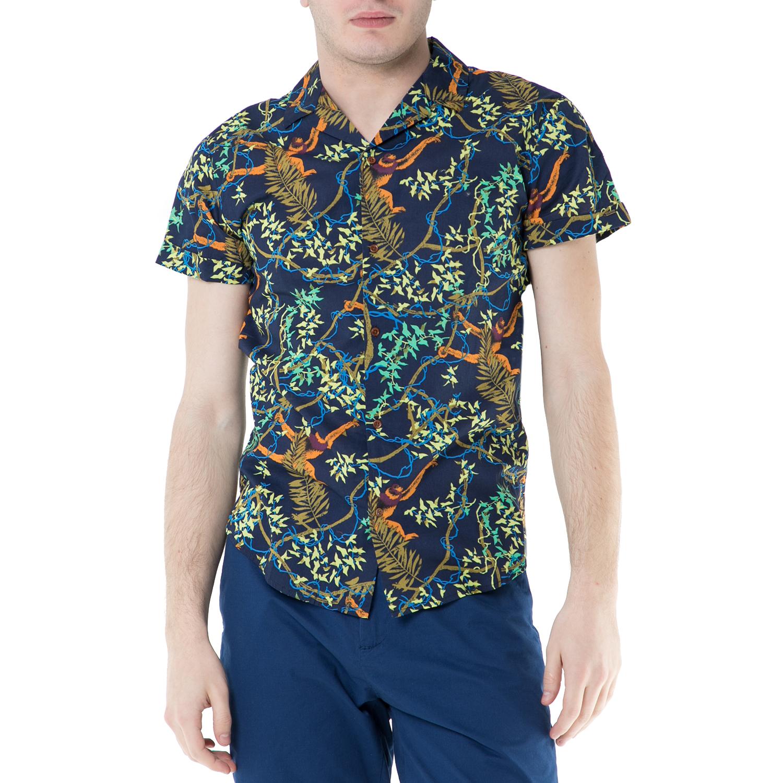SCOTCH & SODA - Ανδρικό κοντομάνικο πουκάμισο Scotch & Soda μπλε με print ανδρικά ρούχα πουκάμισα κοντομάνικα αμάνικα