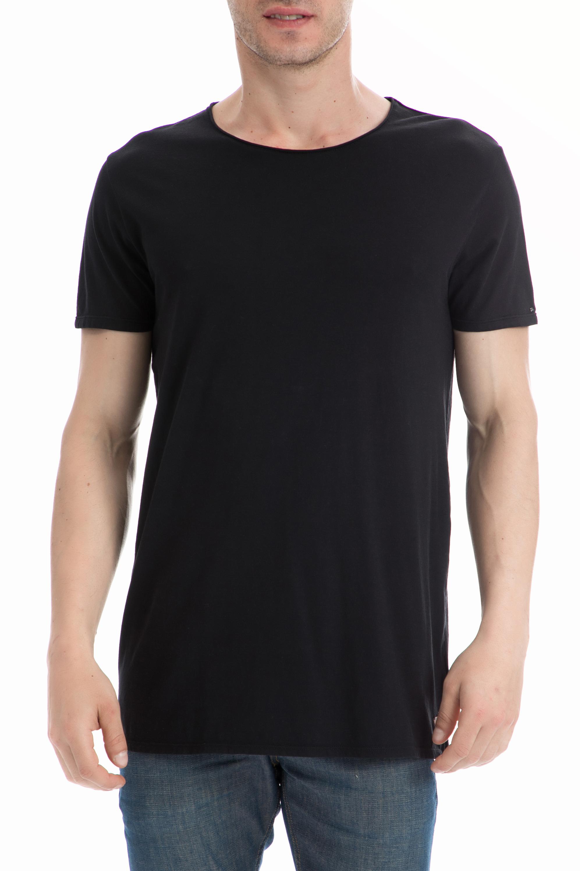 SCOTCH & SODA - Ανδρική μπλούζα SCOTCH & SODA μαύρη ανδρικά ρούχα μπλούζες κοντομάνικες